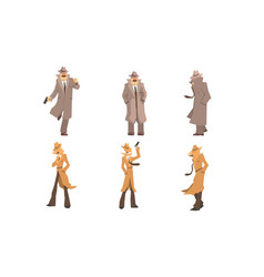 old and young secret agents and private detectives vector image