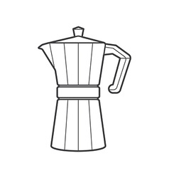 Outline metal faceted coffee pot vector