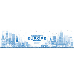 outline welcome to europe skyline with blue vector image