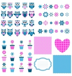 Owls flowers and background set vector