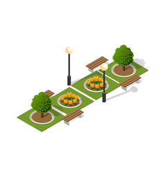 Park nature with trees landscape vector