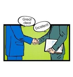 Partnership handshake to business success pop art vector