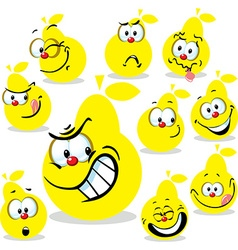 pear icon cartoon with funny faces isolated on vector image