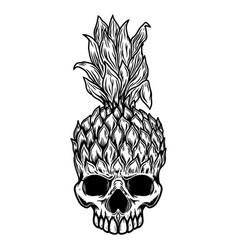 pineapple skull design element for poster card vector image