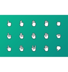 Pixel cursors icons mouse hands vector image
