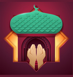 Prayer hands in front mosque entrance vector
