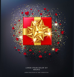 red gift box with gold bow isolated vector image