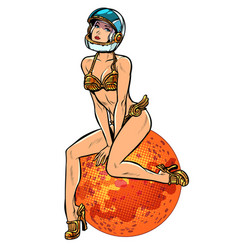 Red planet mars sexy beautiful woman astronaut vector