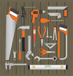 repair and construction working tools on wooden vector image
