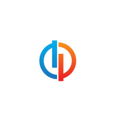 round line colored technology business logo vector image