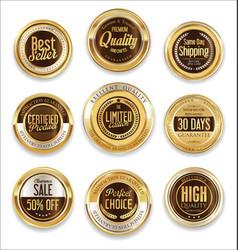 sale retro vintage golden badges and labels 12 vector image
