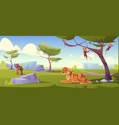 Savannah landscape with tiger monkeys and jackal vector