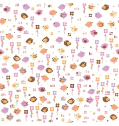 seamless pattern of cute birds vector image vector image