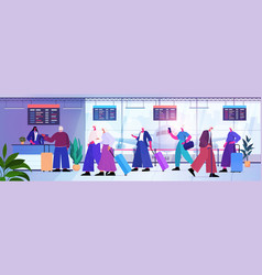senior people with luggage standing in queue vector image