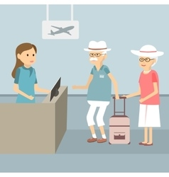Senior Waiting Check In vector image