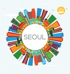 Seoul south korea city skyline with color vector