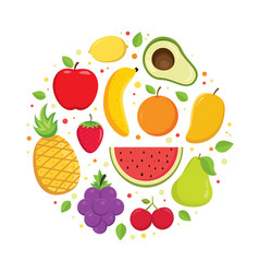 set colorful cartoon fruit icons vector image
