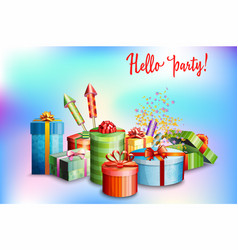 set of gift boxes of different design vector image