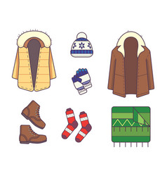 set of stylish winter clothes and accessories vector image