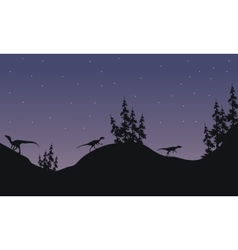 Silhouette of Eoraptor with star vector