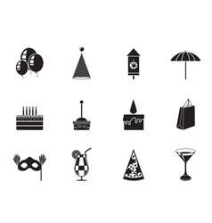 Silhouette Party and holidays icons vector image
