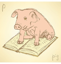 Sketch fancy pig in vintage style vector image