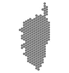 Soccer ball corsica france island map mosaic vector