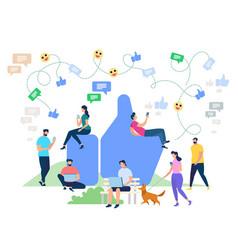 social media networking cartoon characters vector image
