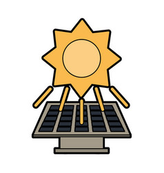 Solar panel and sun clean energy related icon vector