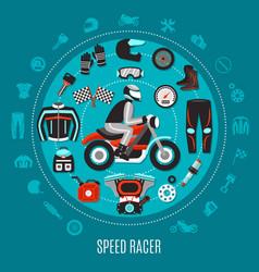 Speed racer round design vector