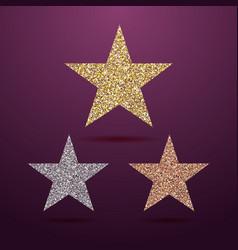 star glittering gold silver bronze vector image