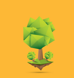 Summer green low poly style tree isolated on vector