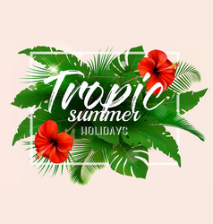 Summer tropical holiday background with exotic vector