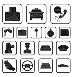 Taxi service black icons in set collection for vector