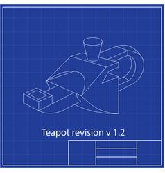 teapot blueprint blueprints mechanical vector image