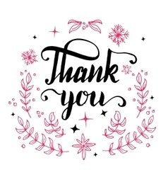 Thank you floral design calligraphy vector image