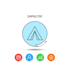 tourist tent icon camping travel sign vector image