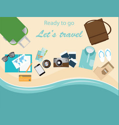 Travelers suitcase travel vacations conceptual vector