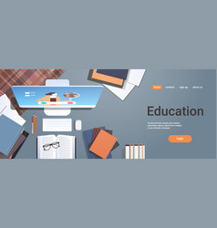 University student workplace e-learning online vector