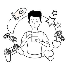 videogames and millennials cartoons in black and vector image