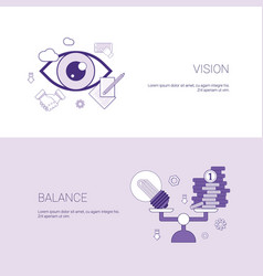 Vision and balance business concept template web vector