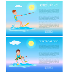 Wakeboarding and kitesurfing sports color posters vector