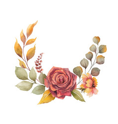 Watercolor autumn wreath with red rose vector
