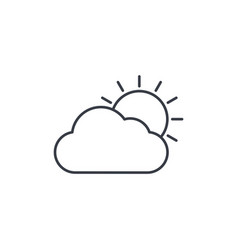 weather sun and cloud thin line icon linear vector image