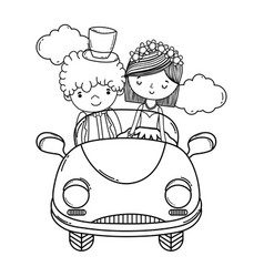 wedding couple and car cute cartoon black and vector image