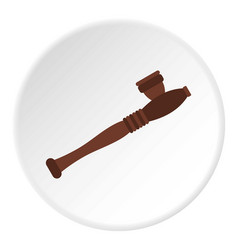 wooden hashish pipe icon circle vector image