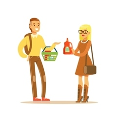 Young Couple Choosing Product Shopping In vector image