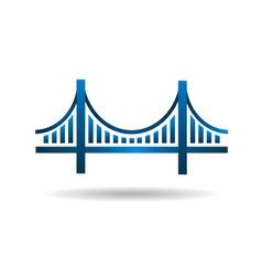 Bridge blue icon logo vector