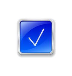 Check mark icon on blue button vector image