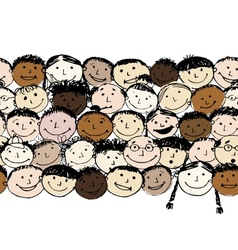Crowd of funny peoples seamless background for vector image